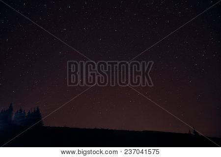 Starry Sky Above The Earth Scenic Night Landscape