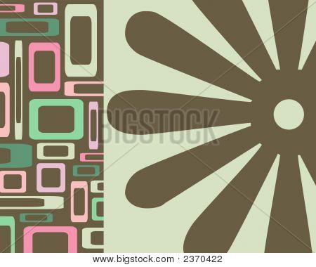 Retro green pink and brown squares and flowers collage poster