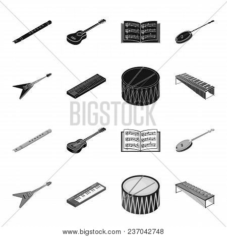 Musical Instrument Black, Monochrome Icons In Set Collection For Design. String And Wind Instrument