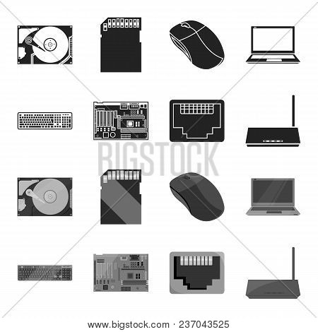 Keyboard, Router, Motherboard And Connector. Personal Computer Set Collection Icons In Black, Monoch