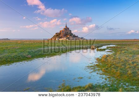 View Of The Abbey Mont-saint-michel At Sunset. France. Normandy.