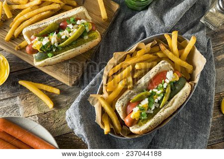 Homemade Chicago Style Hot Dog With Mustard