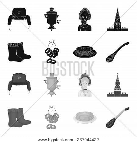 Felt, Boots, Drying, Gingerbread .russia Country Set Collection Icons In Black, Monochrome Style Vec