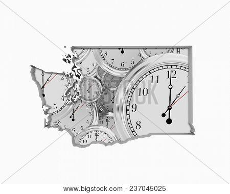 Washington WA Clock Time Passing Forward Future 3d Illustration
