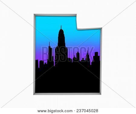 Utah UT Skyline City Metropolitan Area Nightlife 3d Illustration