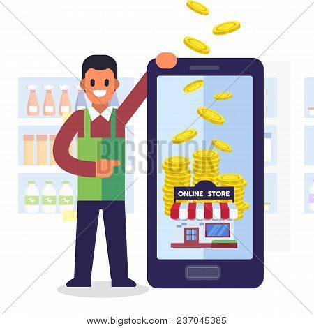 Online Shopping Concept. Earn Money Services With Smartphone. Cartoon Style. Flat Vector Illustratio