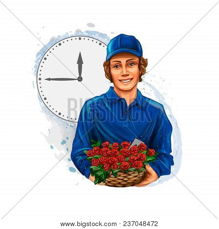 Flower Delivery, Boy Courier, Flower Seller. Vector Realistic Illustration Of Paints