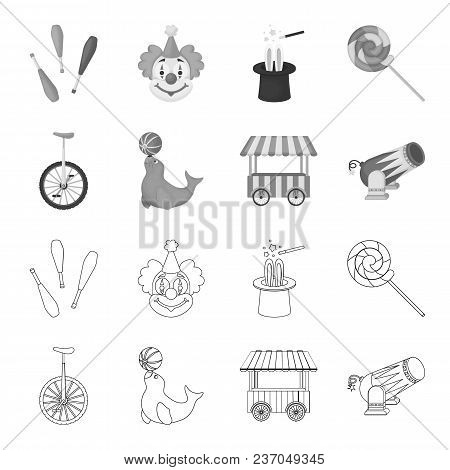 Lollipop, Trained Seal, Snack On Wheels, Monocycle.circus Set Collection Icons In Outline, Monochrom