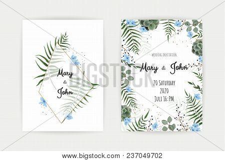 Wedding Invitation With Green Leaf , Eucalyptus Branches, Decorative Wreath Frame Pattern. Vector El