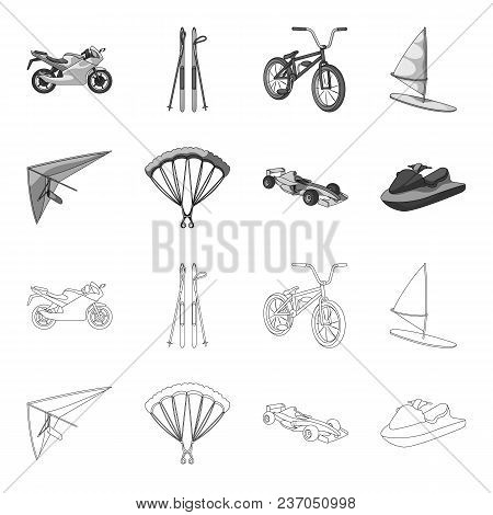 Hang Glider, Parachute, Racing Car, Water Scooter.extreme Sport Set Collection Icons In Outline, Mon