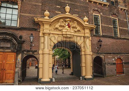 The Hague, Western Netherlands - June 29, 2017. Gateway In The Binnenhof (gothic Public Buildings) I