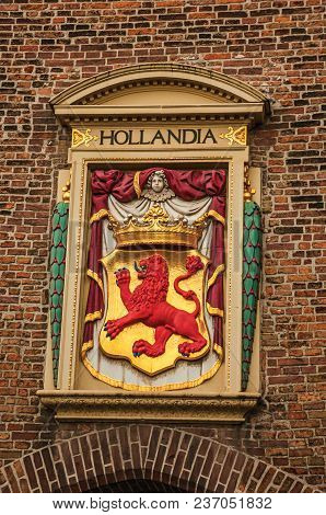 The Hague, Western Netherlands - June 29, 2017. Colorful And Golden Coat Of Arms From Royalty Decora
