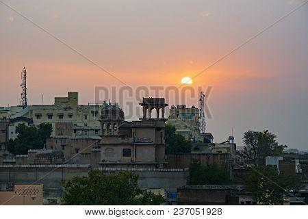 Sunset Over Mandawa Town In Shekhawati Province, Jhunjhunu District, Rajasthan, India.