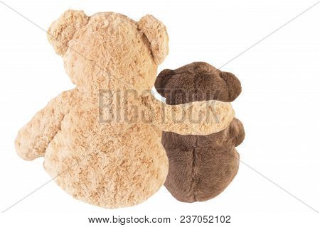 Back View Of Two Teddy Bears Friends, Isolated On White Background.