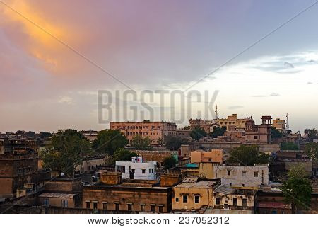 Sunrise Over Mandawa Town In Shekhawati Province, Jhunjhunu District, Rajasthan, India.