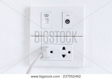 White Electric Plugs On Wall Background,white Outlet Interior, Interior Electric Outlet In Home,sock
