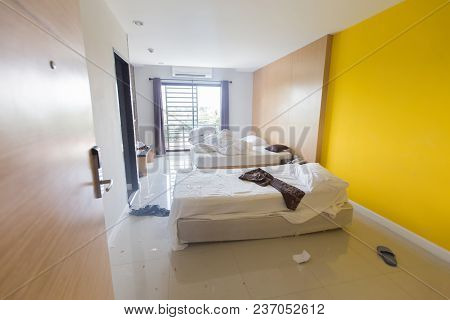 Cluttered bedroom, Close-up private bedroom, Close up view of bedroom hotel, Close-up bedroom in morning poster