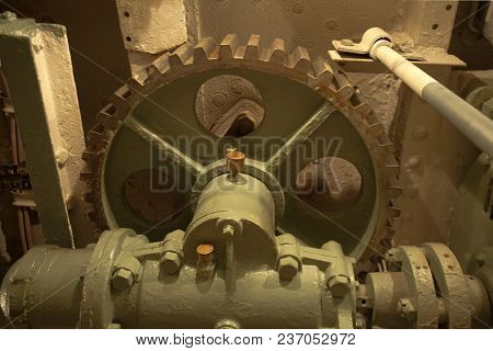 Gearbox With Large Gear Wheel Engine Room, Inside On A Submarine