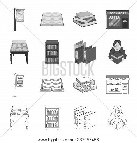Library And Bookstore Outline, Monochrome Icons In Set Collection For Design. Books And Furnishings