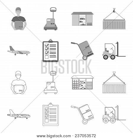 Cargo Plane, Cart For Transportation, Boxes, Forklift, Documents.logistic, Set Collection Icons In O