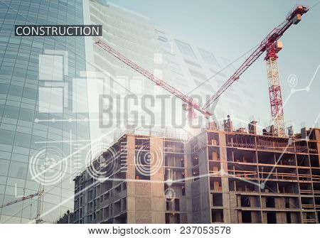 Collage With Construction Plans And A Modern Building