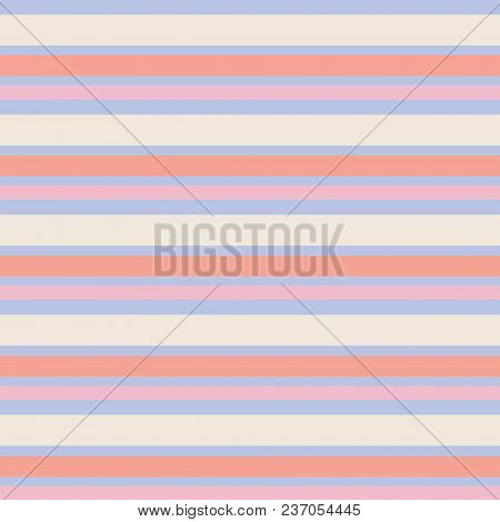 Seamless Vector Stripe Vintage Pattern With Colored Horizontal Parallel Stripes In Pink, Cream, Oran