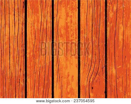 Vector Texture Of Orange Wooden Board. Distressed Timber Traced Background. Obsolete Wood Floor Or T
