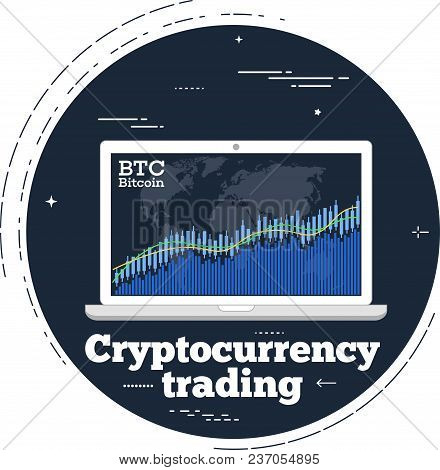 Cryptocurrency Trading Concept With Online Chart On Laptop Monitor Screen. Blockchain Technology, Fi