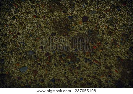 Ultra Orange Plaster Concrete Texture, Stone Surface, Rock Cracked Background For Postcard.