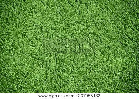 Ultra Green Plaster Concrete Texture, Stone Surface, Rock Cracked Background For Postcard.
