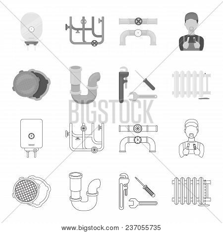 Sewage Hatch, Tool, Radiator.plumbing Set Collection Icons In Outline, Monochrome Style Vector Symbo