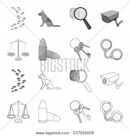 Scales Of Justice, Cartridges, A Bunch Of Keys, Handcuffs.prison Set Collection Icons In Outline, Mo
