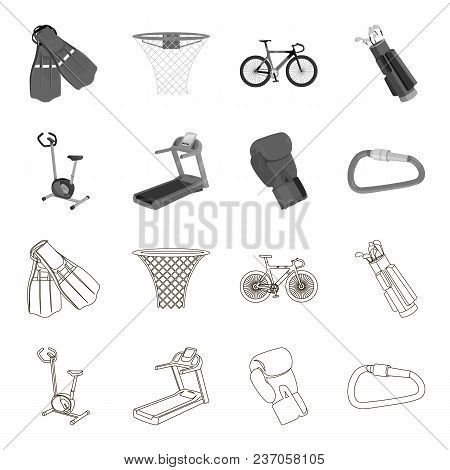 Exercise Bike, Treadmill, Glove Boxer, Lock. Sport Set Collection Icons In Outline, Monochrome Style