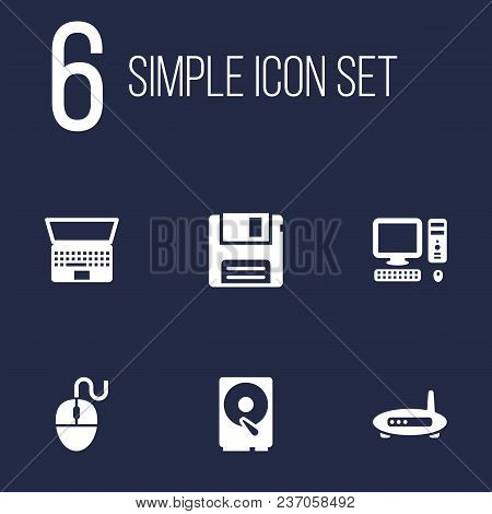 Set Of 6 Computer Icons Set. Collection Of Modem, Hdd, Floppy And Other Elements.