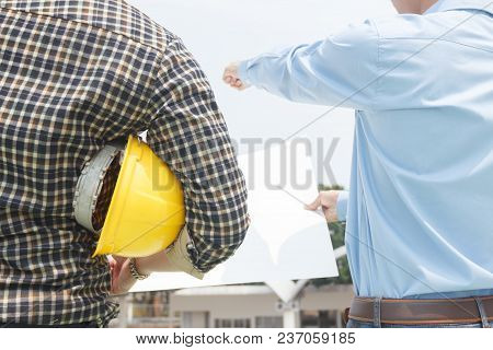 Engineers Agree To Work Together,architecture At Construction Site,consultation For Workers,engineer