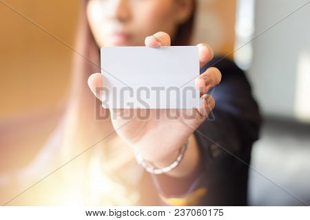 Boss Consign Empty Business Card For Secretary, Close-up Hand Holding Empty Business Card, Business