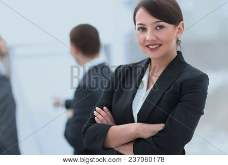 successful woman Manager in the background of the office