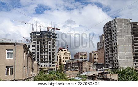 Construction Of New Many-storied Residential Buildings In Center Of Yerevan, Armenia