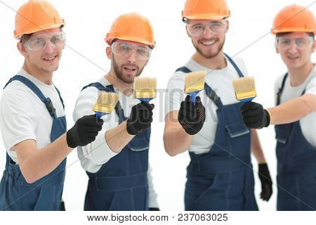 closeup.portrait of team of construction workers