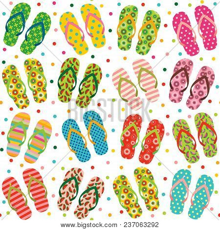 Vector Seamless Repeat Pattern With Colorful Summer Flip Flops Or Beach Sandals For Vacation Clothin