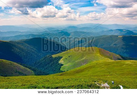 Beautiful Scenery On A Summer Day In Mountains. Wonderful Place For Hiking And Spent Time Outside. G
