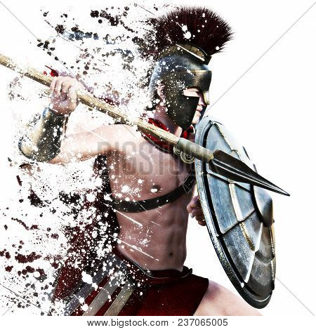 Spartan Attack,illustration Of A Spartan Warrior In Battle Dress Attacking On A White Background Wit