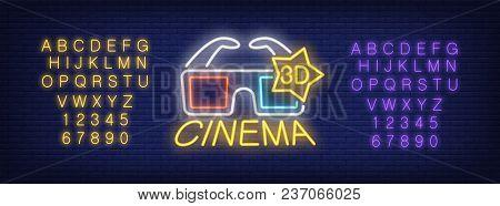 Neon Alphabet And Cinema Lettering With 3d Glasses. 3d Cinema, 3d Film, Cinema House. Advertisement
