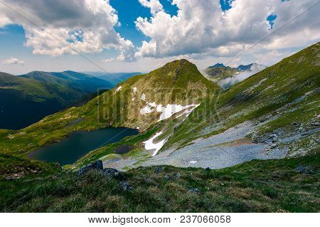 Saua Caprei Peak Of Fagarasan Mountains. Gorgeous Summer Landscape Of Southern Carpathians In Romani