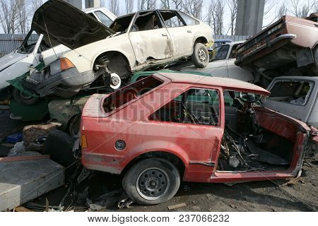 Crushed Cars In Junkyard, Scrap Metal And Waste