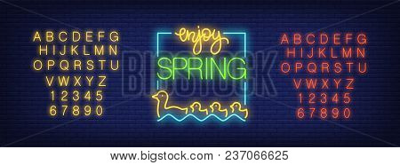 Neon Alphabet And Enjoy Spring Emblem With Floating Duck Flock Over Brick Background. Spring Sale, S