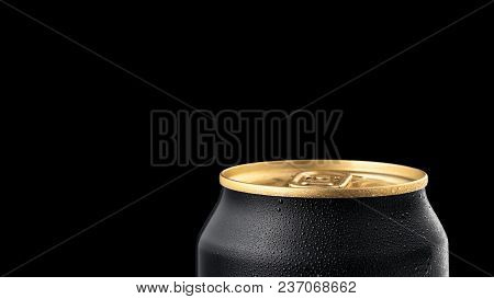 Close Up of Aluminum can of draught beer with drops advertising shot on black background with realistic reflection poster
