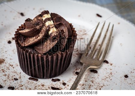 Chocolate Cupcake On White Plate With Fork, Dusted With Cocoa Powder And Chocolate Sprinkles