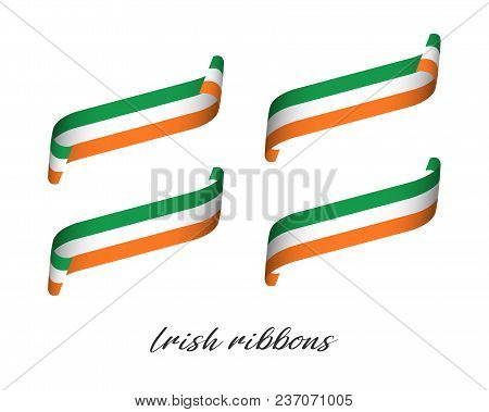 Set Of Four Modern Colored Vector Ribbons With Irish Tricolor Isolated On White Background, Flag Of