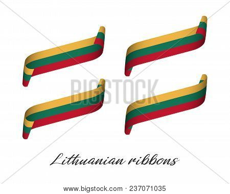 Set Of Four Modern Colored Vector Ribbons With Lithuanian Tricolor Isolated On White Background, Fla